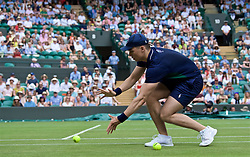 LONDON, ENGLAND - Tuesday, July 2, 2019: A ball boy during the Ladies' Singles first round match on Day Two of The Championships Wimbledon 2019 at the All England Lawn Tennis and Croquet Club. (Pic by Kirsten Holst/Propaganda)