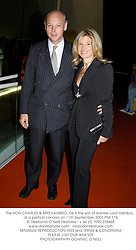 The HON.CHARLES & MRS HAMBRO, he is the son of banker Lord Hambro,  at a party in London on 11th September 2003.PMI 176
