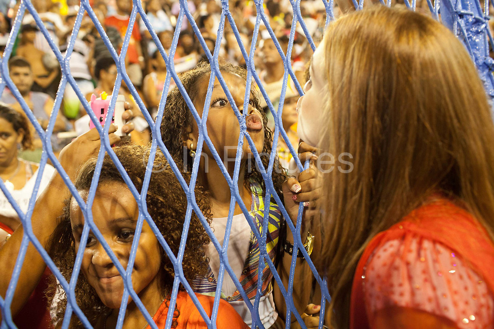 Marina Ruy Barbosa, who will also be dancing with Grande Rio, posing for photos and talking to the fans before the final practice, Grande Rio Samba School from the Special Group, practices their Carnival procession in the Sambadrome, Rio de Janeiro, Brazil