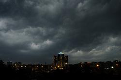 March 22, 2019 - Kolkata, India - Dense cloud forms before a heavy rainfall in the evening in Kolkata, India, on March 22, 2019  (Credit Image: © Indranil Aditya/NurPhoto via ZUMA Press)