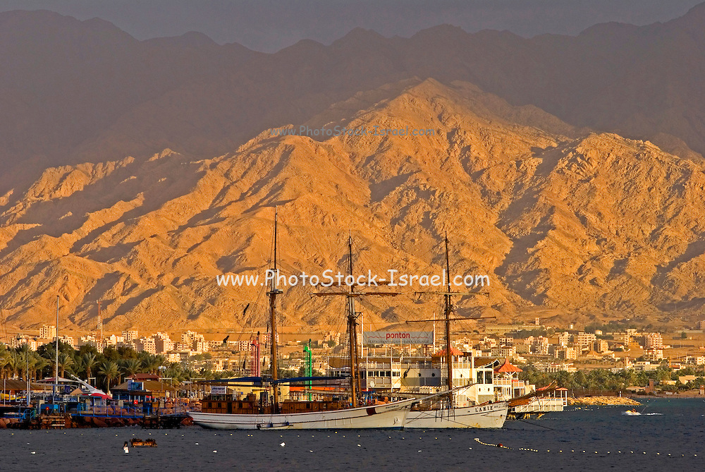 Israel, Eilat, ships in the gulf of Aqaba