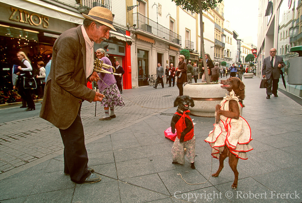 SPAIN, ANDALUSIA, SEVILLE gypsies with dancing dogs on Sierpes