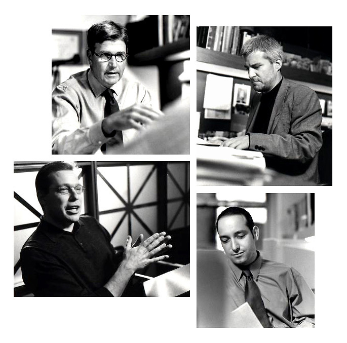 B&W environmental photojournalistic style portrait of Architect James G. Phillips and three other architects of TPG Architecture shot in their offices in NYC