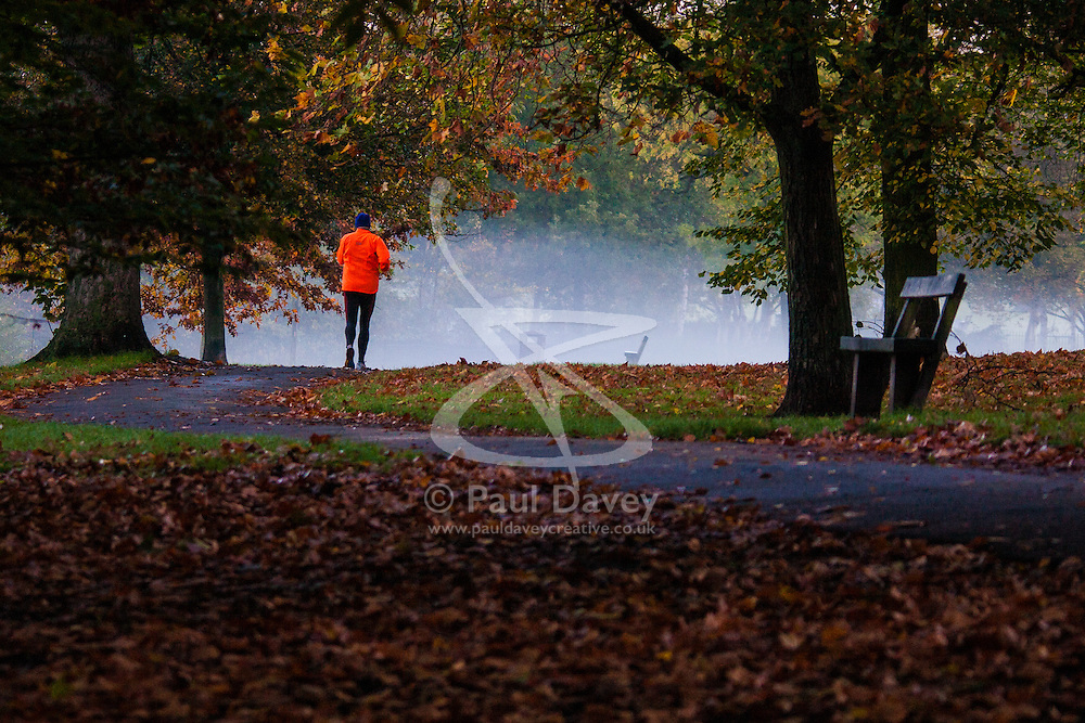 Regent's Park, London, November 4th 2014. An early morning runner makes his way through the autumnal Regents Park.
