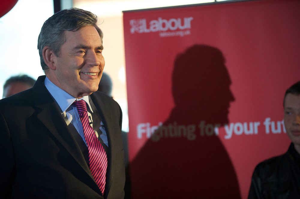 Prime Minister Gordon Brown campaigns on 3 May 2010, conducting a press conference at University Campus Suffolk in Ipswich, Suffolk, UK.  With the general election looming on 6 May 2010, considered to be the closest and most fiercely fought in decades, candidates are campaigning at a torrid pace, holding many events throughout the UK.