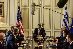 U.S. Secretary of State Mike Pompeo speaks with Greek Prime Minister Kyriakos Mitsotakis at the Maximos Mansion in Athens, Greece October 5, 2019.<br /> <br /> Pictured: <br /> Dimitris Lampropoulos    EEm date