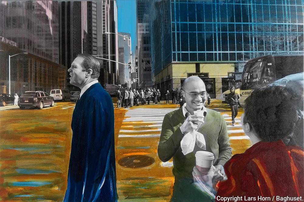NYC in Colors.  Horn/Andersen<br /> Time for a chat    60x90Kr.    5.000,- <br /> Foto: © Lars Horn / Baghuset<br /> Date : 15.07.13