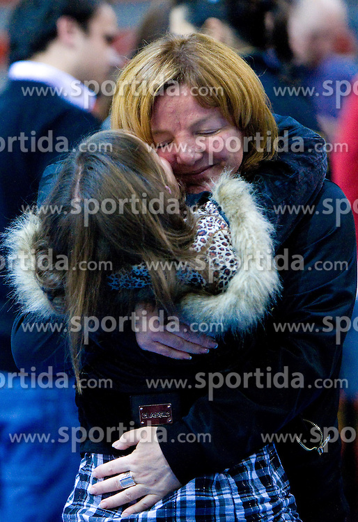 Coach of Krim Marta Bon with her daughter at handball match of Round 5 of Champions League between RK Krim Mercator and Metz Handball, France, on January 9, 2010 in Kodeljevo, Ljubljana, Slovenia. (Photo by Vid Ponikvar / Sportida)