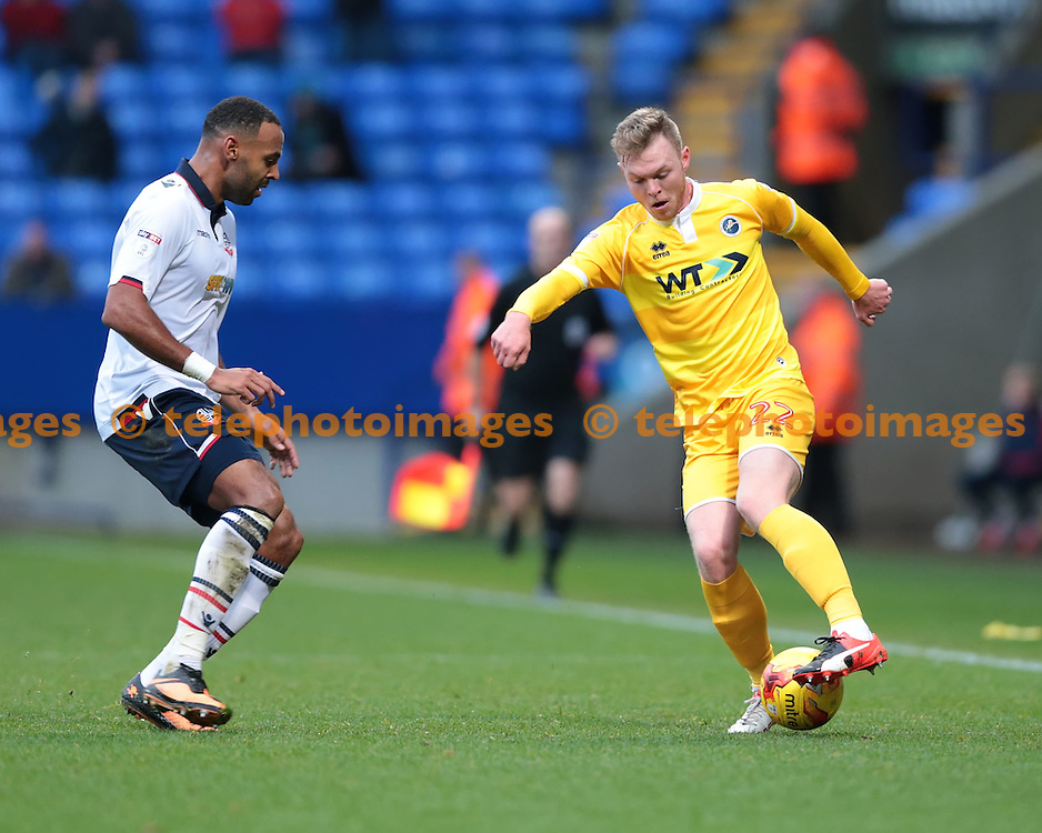 Millwall striker Aiden O'Brien (22) in action during the Sky Bet League 1 match between Bolton Wanderers and Millwall at the Macron Stadium in Bolton. November 19, 2016.<br /> Nigel Pitts-Drake / Telephoto Images<br /> +44 7967 642437
