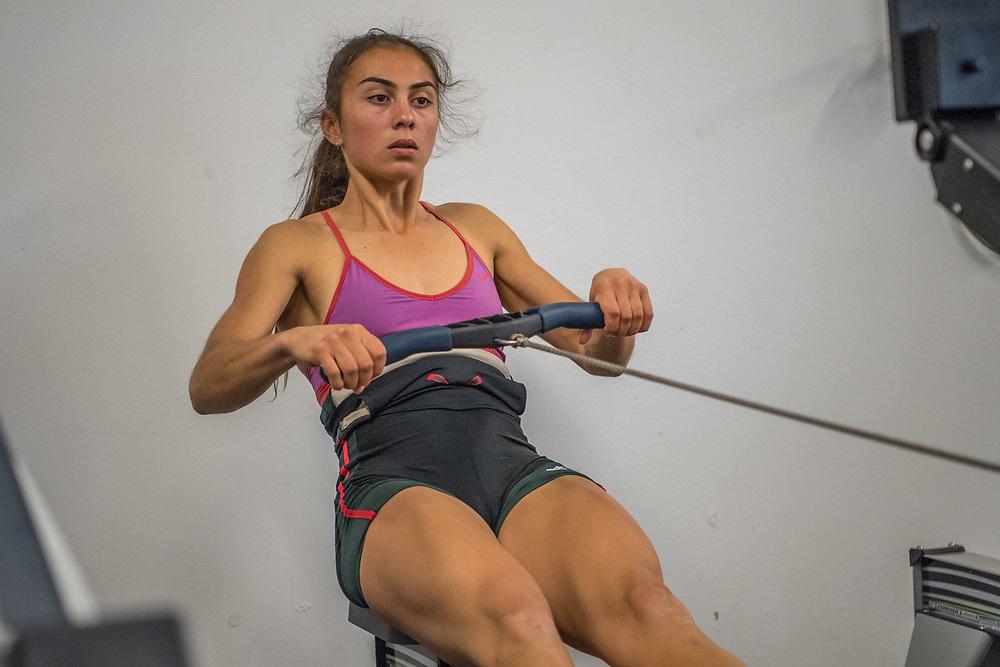 Veronica Wall, Ashburton Rowing Club<br /> <br /> SRPC squad ergometer training at HPSNZ Apollo Sports Centre, Christchurch. Tuesday 20 November 2018 © Copyright photo Steve McArthur / @RowingCelebration