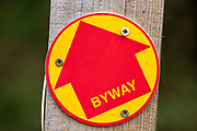 Macro close up of Byway sign on fencepost, Sutton, Suffolk, UK