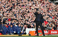 Fulham manager Slavisa Jokanovic gestures on the touchline during the Premier League match at Anfield, Liverpool.