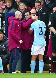 31 December 2017 -  Premier League - Crystal Palace v Manchester City - A visibly distressed Gabriel Jesus of Manchester City is consoled before leaving the match injured - Photo: Marc Atkins/Offside