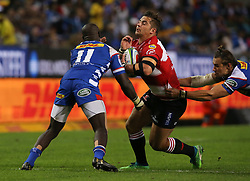 Rohan Janse van Rensburg of the Emirates Lions runs into Raymond Rhule of the DHL Stormers during the first half of the Vodacom Super Rugby match between the DHL Stormers and the Emirates Lions at DHL Newlands in Cape Town, South Africa, Saturday May 26 2018. <br /> (Roger Sedres/ANA)