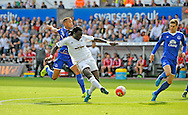 Bafetimbi Gomis of Swansea City has a shot at the Everton goal in the first half.<br /> Barclays Premier League match, Swansea city v Everton at the Liberty Stadium in Swansea, South Wales on Saturday 19th September 2015.<br /> pic by Phil Rees, Andrew Orchard sports photography.