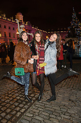 Left to right, SAM ROLLINSON, CHARLOTTE WIGGINS and MATILDA LOWTHER at the launch of Skate at Somerset House in association with Fortnum & Mason held at Somerset House, The Strand, London on 17th November 2015.