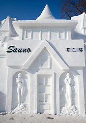 Sauna made from snow at the annual Harbin Ice sculpture festival in China in winter 2009