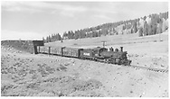 """RGS #461 with stock cars exiting Lizard Head snowshed northbound.  Note that cars 2, 3 & 4 are RGS (ex-C&S) cars.<br /> RGS  Lizard Head, CO  Taken by Richardson, Robert W. - 9/26/1951<br /> In book """"RGS Story, The Vol. IV: Over the Bridges? Ophir Loop to Rico"""" page 289<br /> Also in """"Silver San Juan"""", p. 224."""