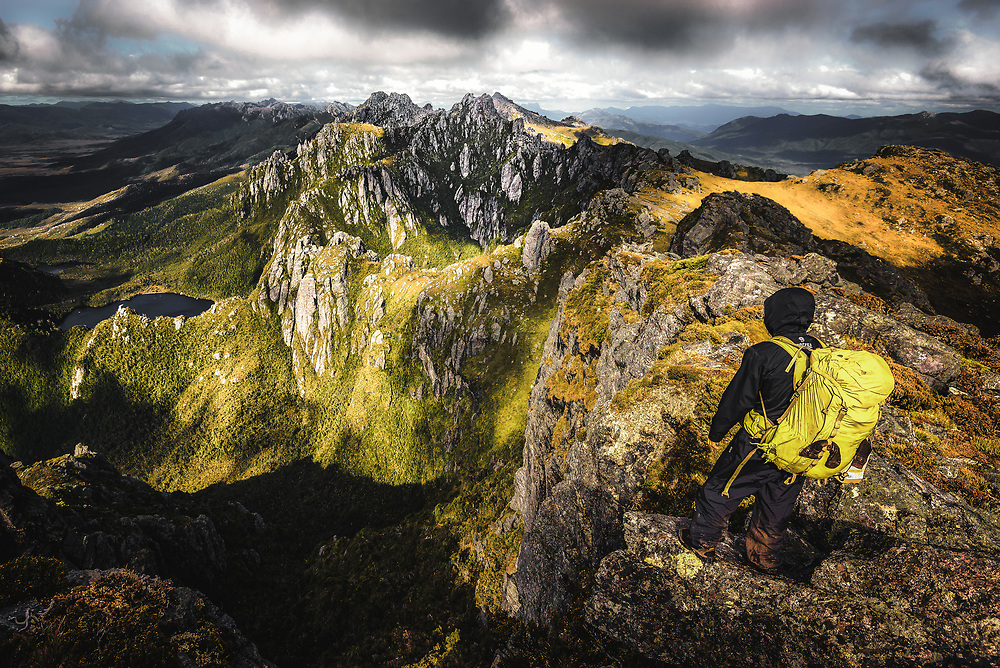 View from the top of mount Hesperus in Western Arthurs Range, Tasmania.