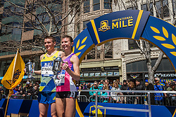 BAA Invitational Miles, Professional Mile race, top man and woman on podium, Chris O'Hare, Brook Handler