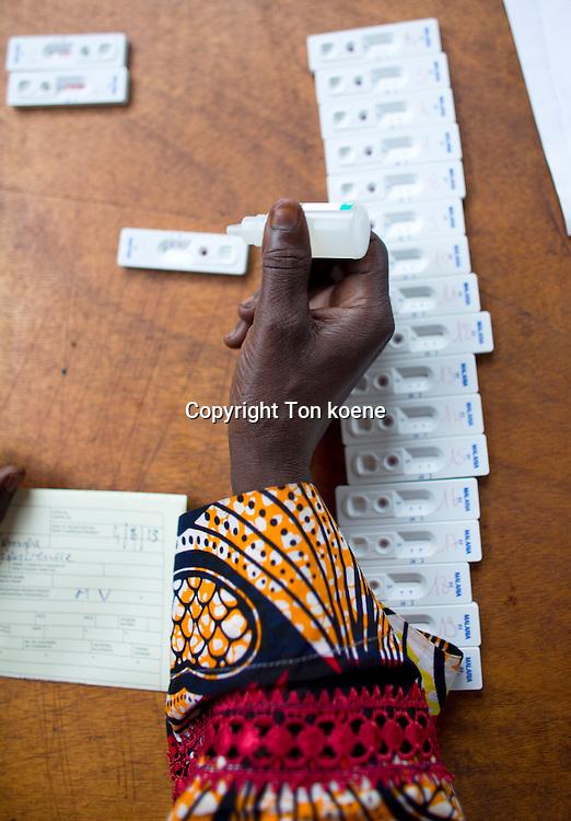 malaria rapid test in MSF OCA hopsital in bossangoa, central african republic