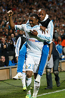FOOTBALL - FRENCH LEAGUE CUP 2011/2012 - 1/8 FINAL - OLYMPIQUE MARSEILLE v RC LENS - 25/10/2011 - PHOTO PHILIPPE LAURENSON / DPPI - JOY AFTER JORDAN AYEW (OM)