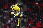 The Jacksonville Jaguars mascot abseils into the stadium during the NFL game between Houston Texans and Jacksonville Jaguars at Wembley Stadium in London, United Kingdom. 03 November 2019