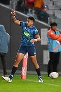 Rieko Ioane celebrates a try.<br /> Blues v Waratahs, Sky Super Rugby Trans-Tasman. Eden Park, Auckland. New Zealand. Saturday 22 May 2021. © Copyright Photo: Andrew Cornaga / www.photosport.nz
