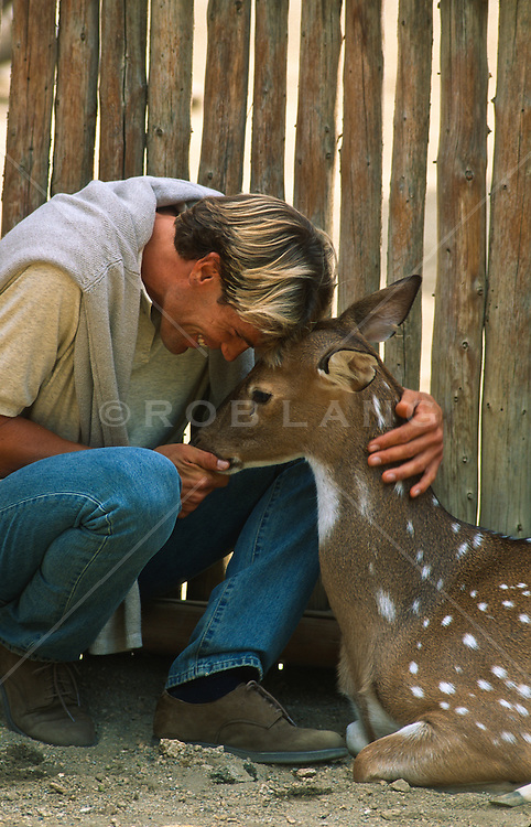Man caressing a spotted deer