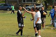Deportivo Colomex teammates congratulate Edgar Salgado (#10) after scoring a third goal against Team Shlama F.C. during National Soccer League play in Skokie, Il.