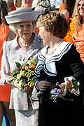 Koningsdag 2014 in de Rijp, het vieren van de verjaardag van de koning. / Kingsday 2014 in the Rijp , celebrating the birthday of the King. <br /> <br /> <br /> Op de foto / On the photo:  Prinses Margiet en Prinses Beatrix  / Princess Margiet and Princess Beatrix