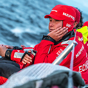 Leg 11, from Gothenburg to The Hague, day 01 on board MAPFRE, Tamara Echegoyen dreaming with her bunk. 21 June, 2018.