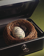 An egg covered in dollar bills resting in a nest sitting in a cashbox