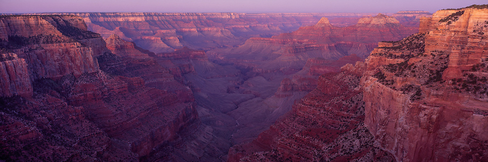 View of the South Rim of the Grand Canyon from Cape Royal on the North Rim at dawn