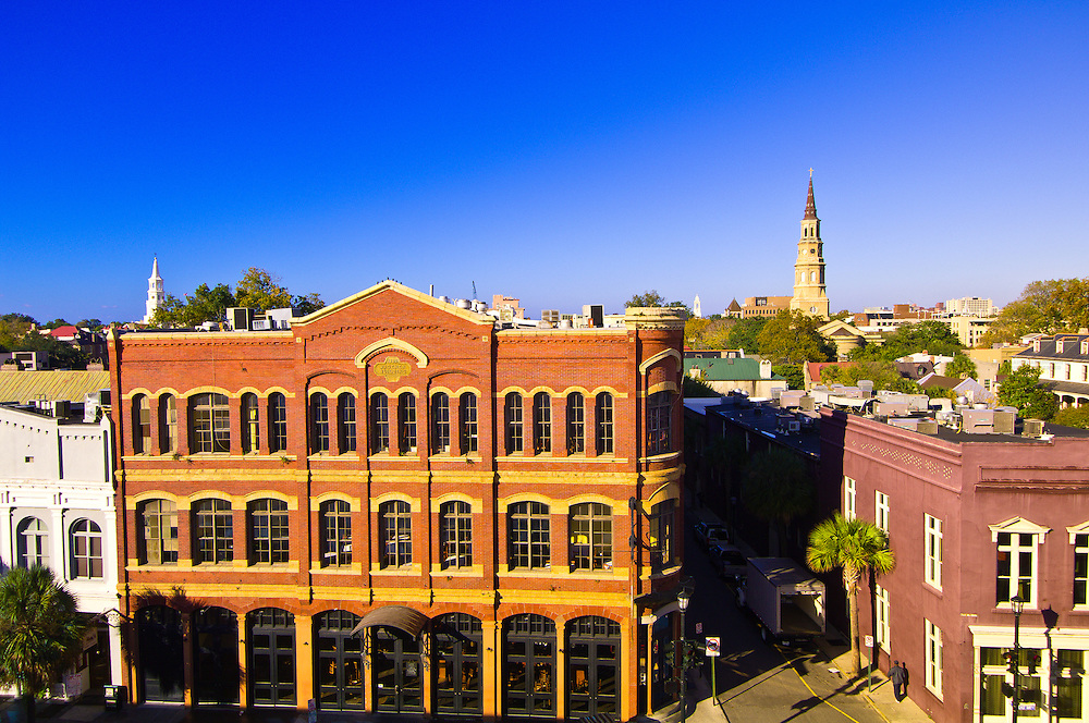 Overview of East Bay Street with the steeples of St. Michael's Episcopal Church and St. Philip's Episcopal Church in the background, Charleston, South Carolina