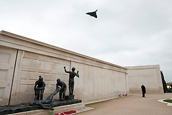 © Licensed to London News Pictures.20/05/2012, National Memorial Arboretum, Alrewas, Staffordhire, UK.The Service and Dedication of the Falklands Memorial at the National Memorial Arboretum took place earlier today. Pictured, The Vulcan flies over the Arboretum at the end of the dedication. Photo credit : Dave Warren/LNP
