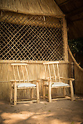Entrance to guest accommodation, Luwi Bush Camp, South Luangwa National Park. Zambia, Africa