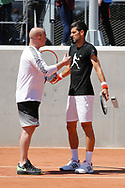 Andre Kirk Agassi (USA) new trainer of Novak Djokovic (SRB) and Novak Djokovic (SRB) at practice on court 5 during the Roland Garros French Tennis Open 2017, preview, on May 25, 2017, at the Roland Garros Stadium in Paris, France - Photo Stephane Allaman / ProSportsImages / DPPI