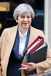 © Licensed to London News Pictures. 29/03/2017. London, UK. Prime Minister THERESA MAY leaves Downing Street to deliver the Article 50 statement to the House of Commons in London on Wednesday, 29 March 2017 as Prime Minister Theresa May triggers article 50 and starts Britain's departure from the European Union. Photo credit: Tolga Akmen/LNP