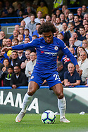 Chelsea midfielder Willian (22) during the Premier League match between Chelsea and Liverpool at Stamford Bridge, London, England on 29 September 2018.