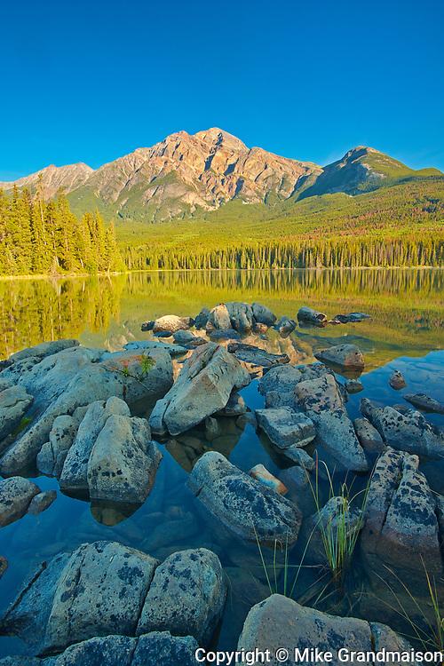 Pyramid Mountain and Pyramid Lake at sunrise, Jasper National Park, Alberta, Canada