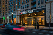 The entrance to The Bartlett in Arlington, Virginia, at twilight -- exterior design by Maurice Walters Architect