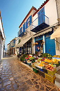 Fruit shop in the narrow streets & houses of Hydra, Greek Cyclades Islands .<br /> <br /> Visit our GREEK HISTORIC PLACES PHOTO COLLECTIONS for more photos to download or buy as wall art prints https://funkystock.photoshelter.com/gallery-collection/Pictures-Images-of-Greece-Photos-of-Greek-Historic-Landmark-Sites/C0000w6e8OkknEb8