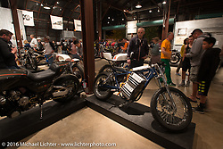 Custom electric motorcycle on display on Saturday in the Handbuilt Motorcycle Show. Austin, TX, USA. April 9, 2016.  Photography ©2016 Michael Lichter.