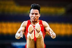 October 29, 2018 - Doha, Qatar - Shudi Deng of China   during  Floor, Team final for Men at the Aspire Dome in Doha, Qatar, Artistic FIG Gymnastics World Championships on October 29, 2018. (Credit Image: © Ulrik Pedersen/NurPhoto via ZUMA Press)