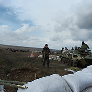 ANDREEVKA, UKRAINE - March 20, 2014: Ukrainian troops set up a defensive line, at a about 40km from the border with Russia, in the east. CREDIT: Paulo Nunes dos Santos