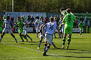 Forest Green Rovers Christian Doidge(9) heads the ball a Forest Green Rovers Liam Noble(15) free kick towards goal during the Vanarama National League match between Forest Green Rovers and Maidstone United at the New Lawn, Forest Green, United Kingdom on 22 April 2017. Photo by Shane Healey.