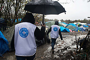 France. Refugees.  Grande Synthe camp near Dunkirk. People are camping in a wood with very few facilities. A mobile clinic from Doctors of the World visits once a week. Here mediators/outreach workers walk aound the camp visiting people to see if they need a doctor.