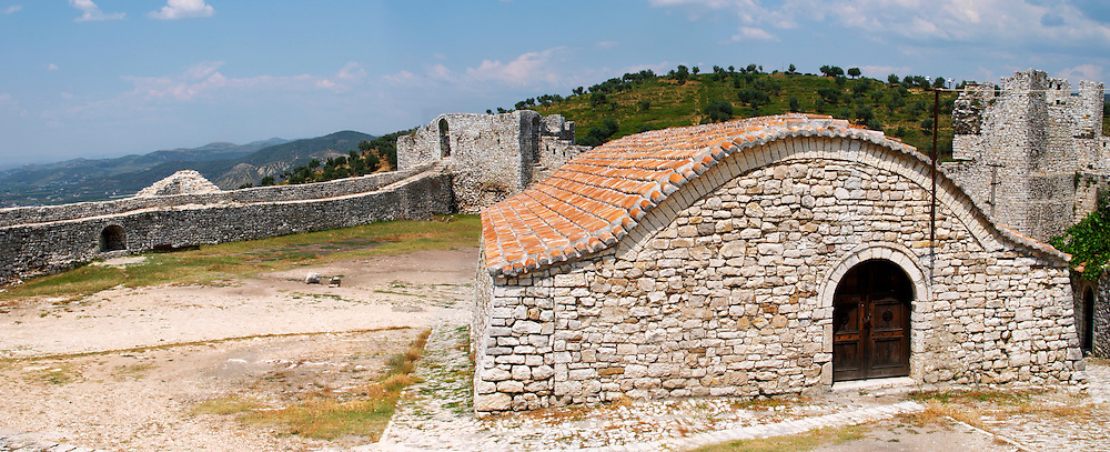 The old Ottoman garrisons garnison building that housed the soldiers. Background: city wall and view over the valley. Panorama. Berat upper citadel old walled city. Albania, Balkan, Europe.