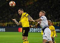 Football - 2018 / 2019 UEFA Champions League - Round of Sixteen, Second Leg: Borussia Dortmund (0) vs. Tottenham Hotspur (3)<br /> <br /> Paco Alcacer (Borussia Dortmund) glances his header away from Toby Alderweireld (Tottenham FC) at Signal Iduna Park (Westfalenstadion).<br /> <br /> COLORSPORT/DANIEL BEARHAM